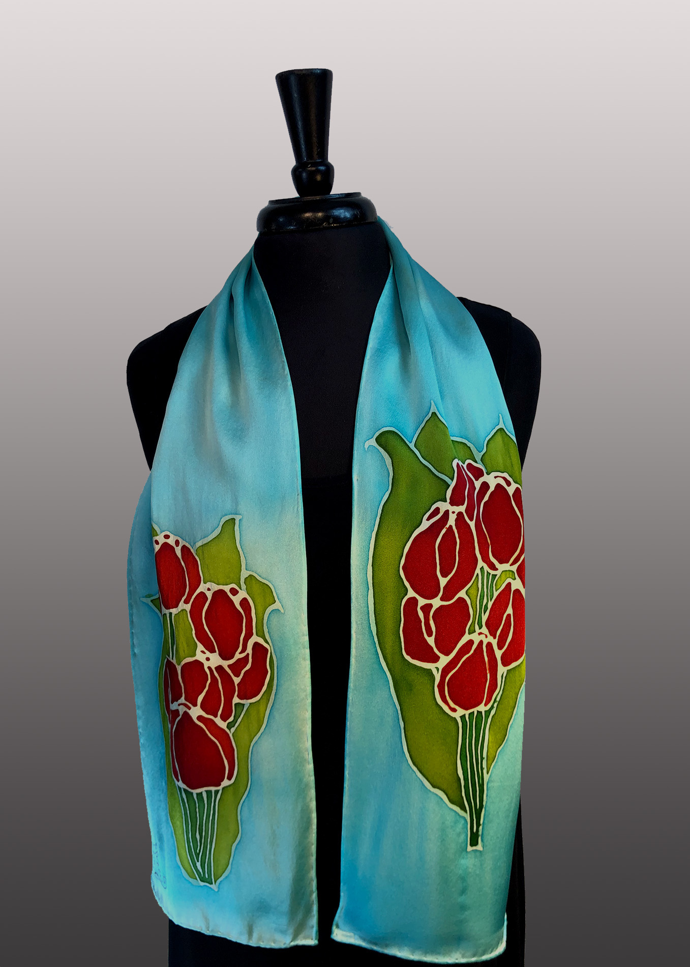 AD1 - 8x54 Courtney Tulips Silk Charmeuse Hand Painted Scarf