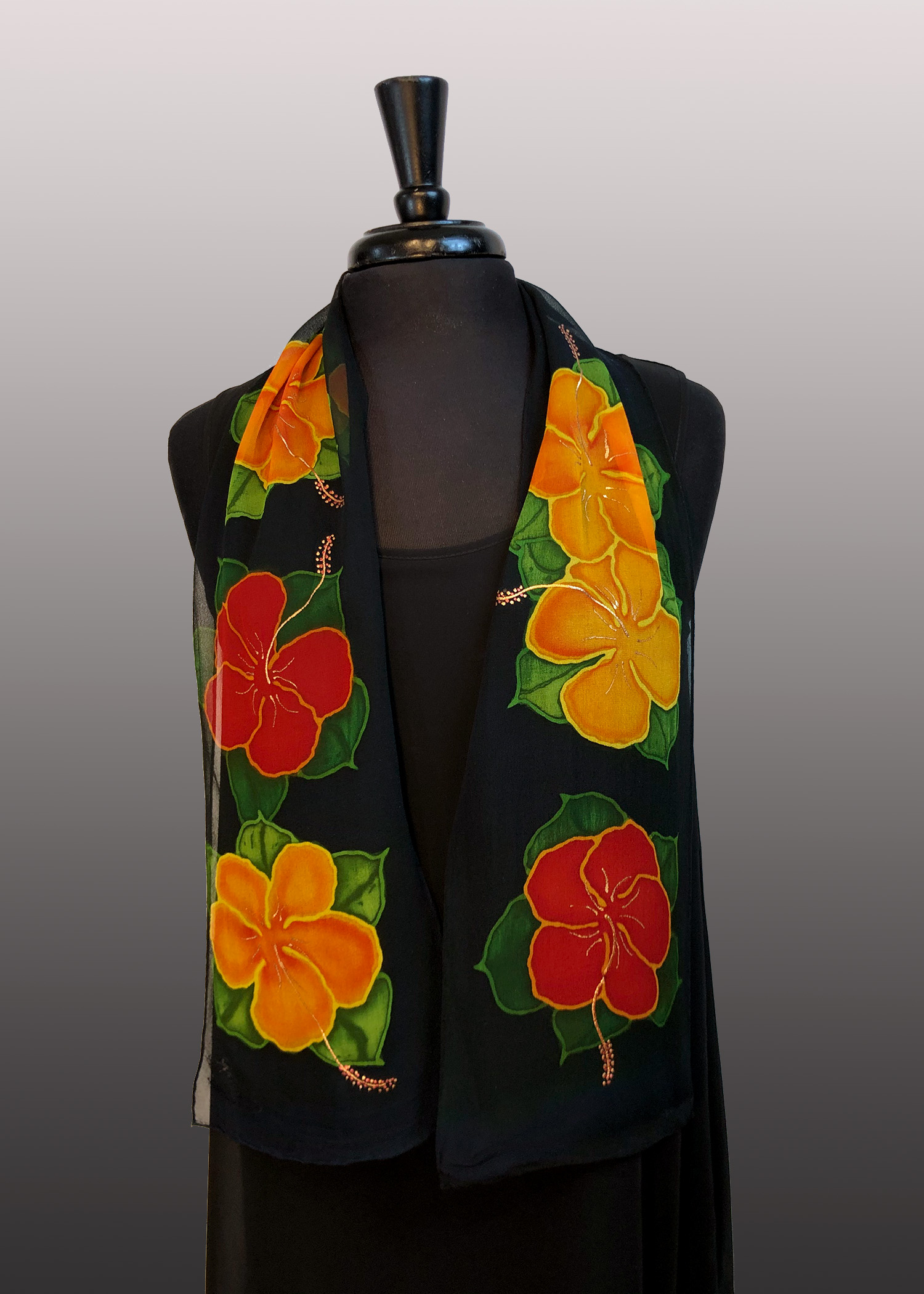 AD2 - 8x54 Natrishka Hibiscus Silk Chiffon Hand Painted Silk Scarf with Gold Accents