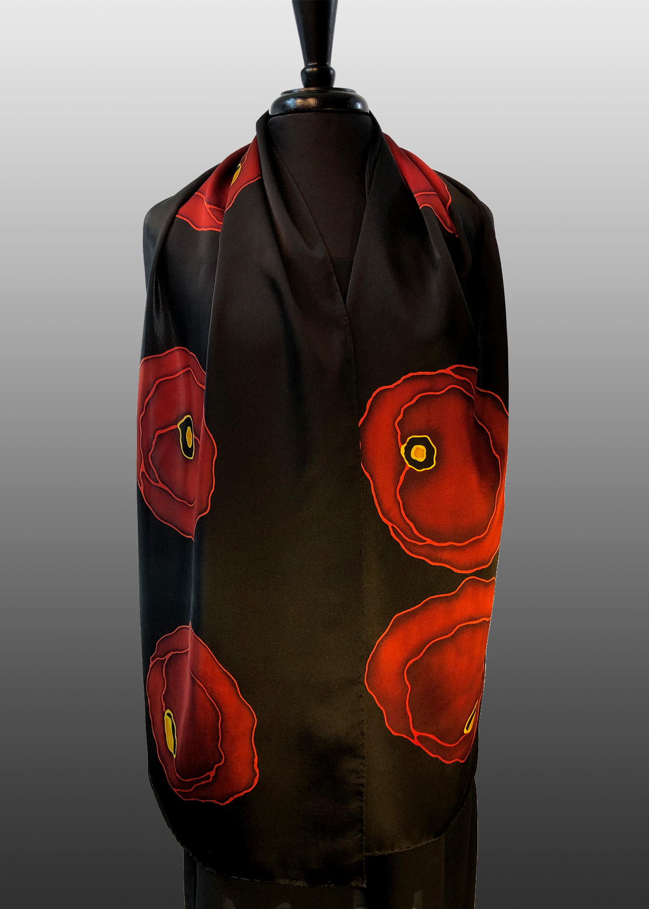 AD4 - 14x72 Linda's Poppies Silk Charmeuse Hand Painted Silk Scarf
