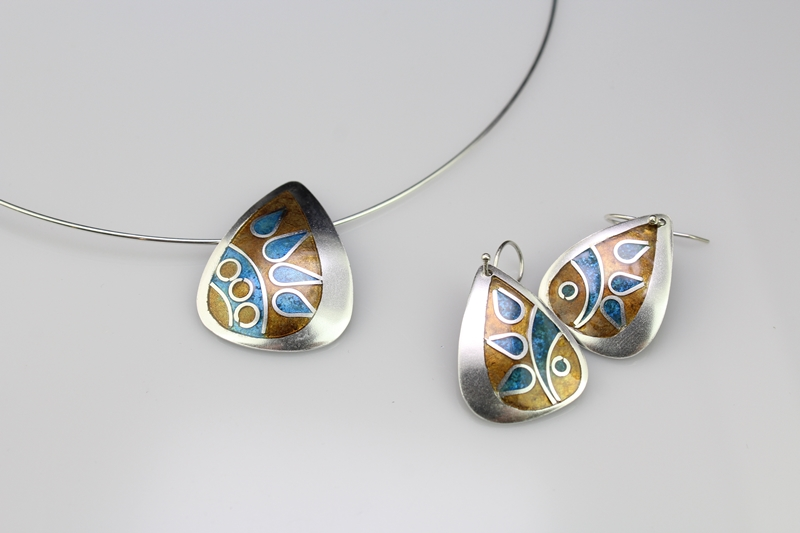 Champleve & Cloisonne Pendant & Earring Set by Tonya Butcher