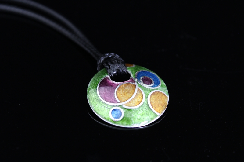 Circle Cloisonne Washer Pendant by Tonya Butcher