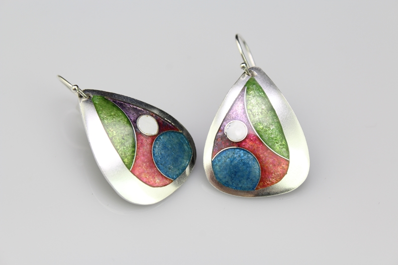 Teardrop Circles Champleve & Cloisonne Earrings by Tonya Butcher